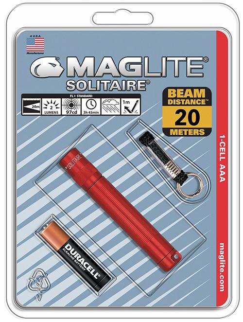 K3A036E Фонарь-брелок Maglite Маглайт, Solitaire, 1AАА, красный, 8,1 см, в блистере, 0038739201696