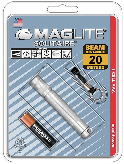 K3A106E Фонарь-брелок Maglite Маглайт, Solitaire, 1AАА, серебристый, 8,1 см, в блистере, 038739201900