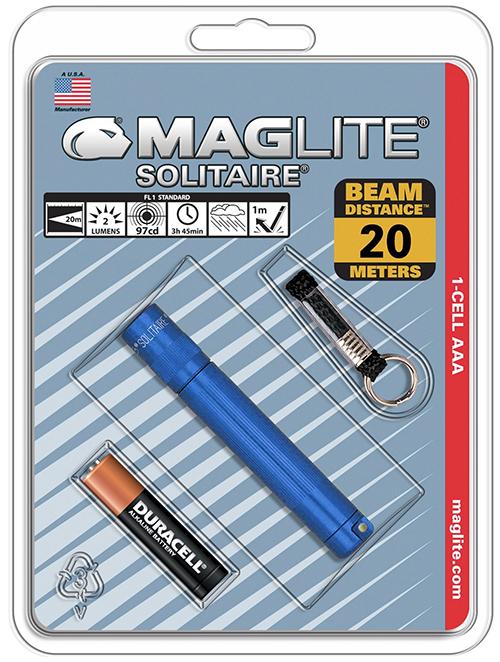 K3A116E Фонарь-брелок Maglite Маглайт, Solitaire, 1AАА, синий, 8,1 см, в блистере, 0038739201719