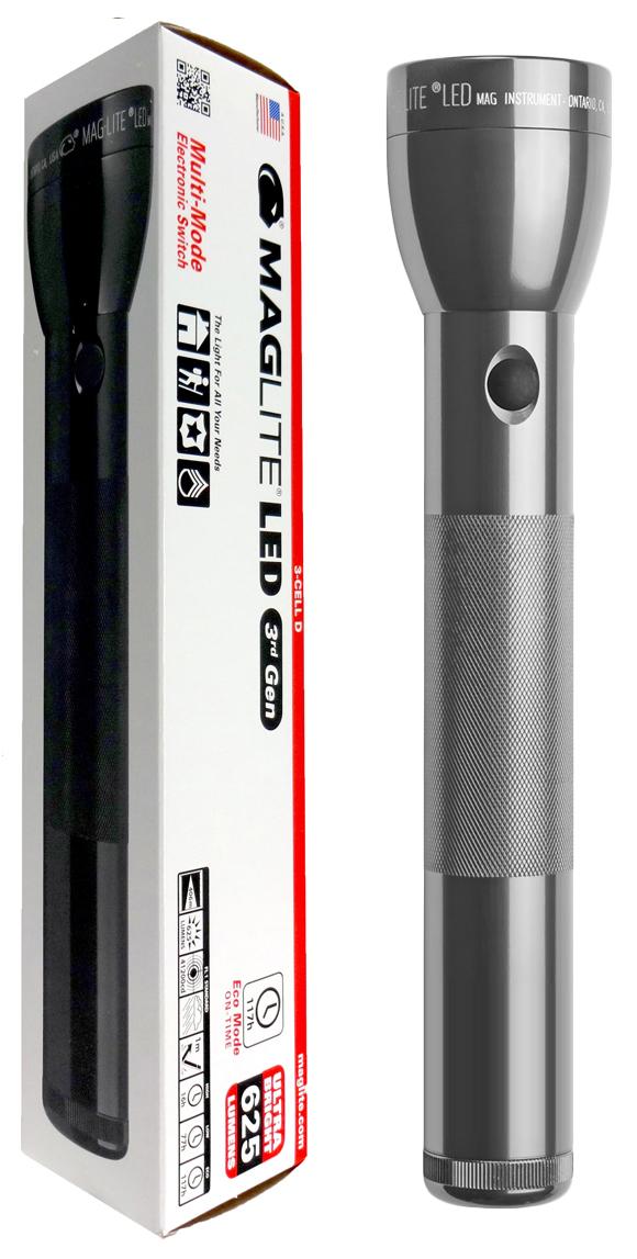 ML300L-S3095 Фонарь светодиодный Maglite Маглайт® ML300L™ 3G, 3D, 625 лм, 29,85 см, серый, 0038739500515