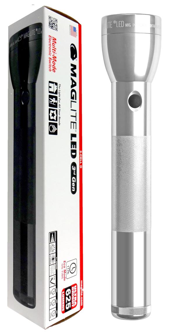 ML300L-S3105 Фонарь светодиодный Maglite Маглайт® ML300L™ 3G, 3D, 625 лм, 29,85 см, серебристый, 0038739500522