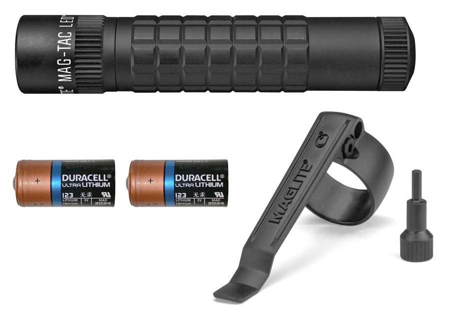 SG2LRE6 Фонарь Maglite Маглайт LED (светодиод), MAG-TAC®, 2CR123, плоский безель, черный, 13,4 см,, 0038739670638