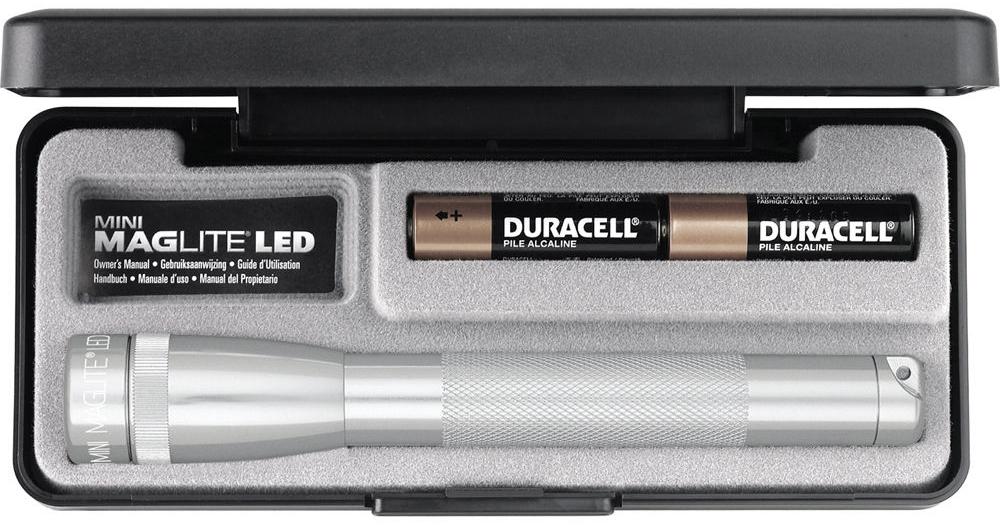 SP22107F Фонарь Maglite Маглайт LED (светодиод), 2АА, серебристый, 16,8 см, в пластиковой коробке, 0038739531373