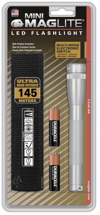 SP2210H Фонарь Maglite Маглайт LED (светодиод), 2АА, серебристый, 16,8 см, в блистере, с чехлом, 0038739530437
