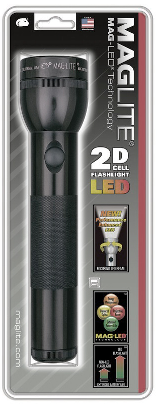 ST2D016E Фонарь Maglite Маглайт LED (светодиод), 2D, черный, 25 см, в блистере, 0038739510088