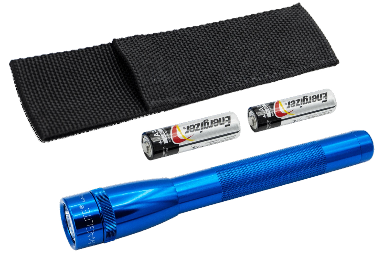 SP2211H Фонарь Mini Maglite LED (светодиод), 2АА, синий, 16,8 см, в блистере, с чехлом, 038739530444